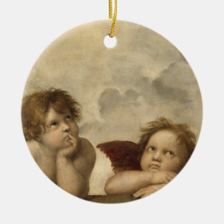 Sistine Madonna Angels by Raphael Double-Sided Ceramic Round Christmas Ornament