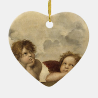 Sistine Madonna Angels by Raphael Double-Sided Heart Ceramic Christmas Ornament