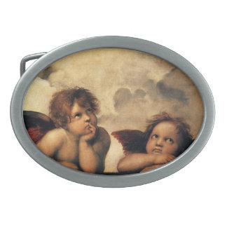 Sistine Madonna Angels by Raphael, Renaissance Art Oval Belt Buckles
