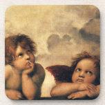 Sistine Madonna Angels by Raphael, Renaissance Art Drink Coaster