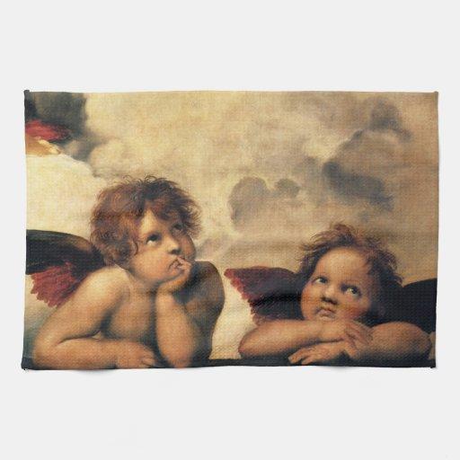 Sistine Madonna Angels by Raphael, Renaissance Art Hand Towels