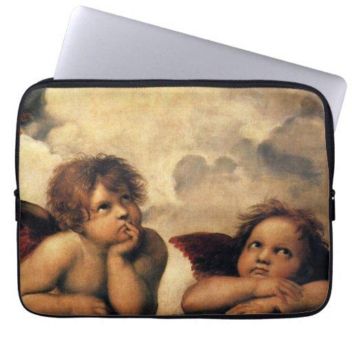Sistine Madonna Angels by Raphael, Renaissance Art Laptop Sleeve