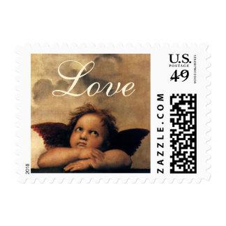 Sistine Madonna Angels by Raphael, Renaissance Art Postage Stamp