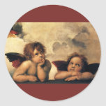 Sistine Madonna Angels by Raphael, Renaissance Art Round Stickers
