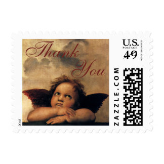 Sistine Madonna Angels by Raphael, Thank You Stamps