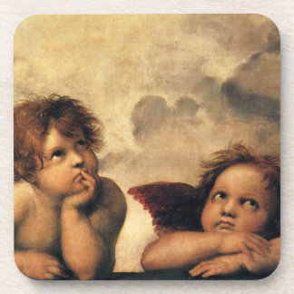 Sistine Madonna, Angels detail by Raphael Beverage Coaster