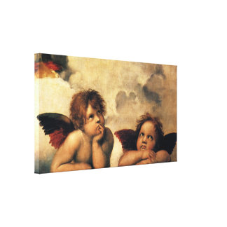 Sistine Madonna, Angels detail by Raphael Canvas Print