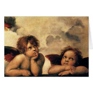 Sistine Madonna, Angels detail by Raphael Greeting Card