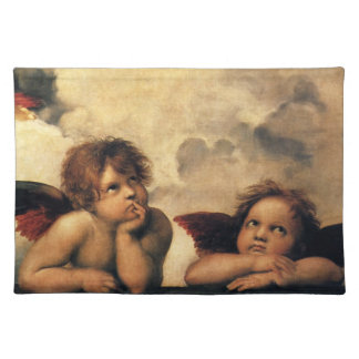 Sistine Madonna, Angels detail by Raphael Cloth Placemat