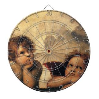 Sistine Madonna, Angels detail by Raphael Dartboard With Darts
