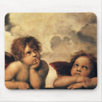 Sistine Madonna, Angels detail by Raphael Mouse Pad