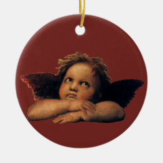 Sistine Madonna, Angels detail by Raphael Double-Sided Ceramic Round Christmas Ornament