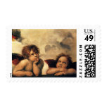 Sistine Madonna, Angels detail by Raphael Postage Stamp