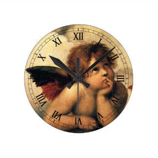 Sistine Madonna, Angels detail by Raphael Round Clock