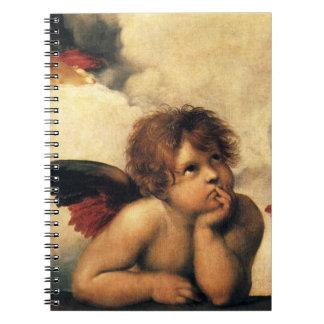 Sistine Madonna, Angels detail by Raphael Spiral Notebook