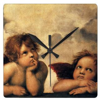 Sistine Madonna, Angels detail by Raphael Square Wall Clock