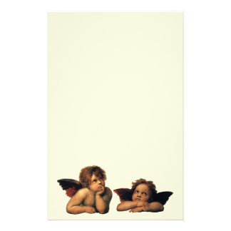 Sistine Madonna, Angels detail by Raphael Stationery