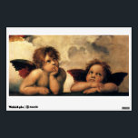 """Sistine Madonna, Angels detail by Raphael Wall Decal<br><div class=""""desc"""">Sistine Madonna (detail) (c. 1512-1514). Artist: Raphael Sanzio (1483-1520) or simply Raphael or Raffaello. Sistine Madonna (detail) is a vintage Renaissance fine art religious portrait painting featuring two angels looking upwards towards the clouds and the heavens.</div>"""