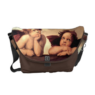 Sistine Madonna Cherubs Raffaelo Sanzio Messenger Bags