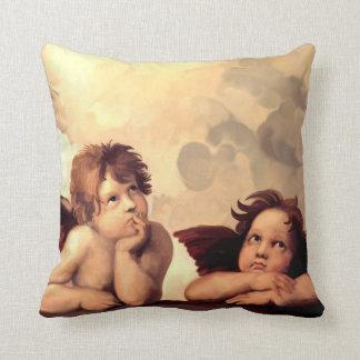 Sistine Madonna Cherubs Raffaelo Sanzio Throw Pillow