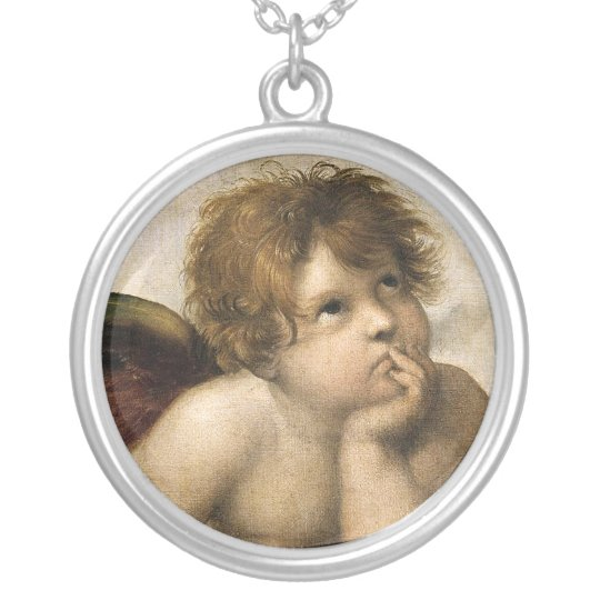 Sistine Madonna Detail, Raphael Silver Plated Necklace