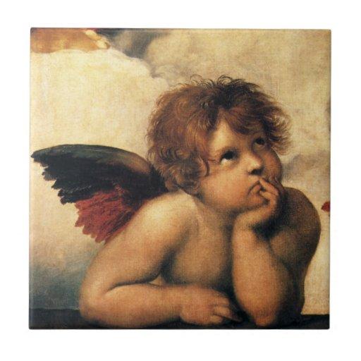 Sistine Madonna, detalle de los ángeles por Azulejo Cuadrado Pequeño