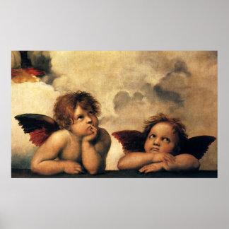 Sistine Madonna, detalle de los ángeles por Póster