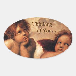 Sistine Madonna Thinking of You... Oval Sticker