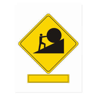 Sisyphus Road Sign Postcard