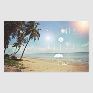 Sit back and Relax Palm Trees on a Tropical Beach Rectangular Sticker