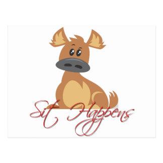 sit dog cute funny postcard