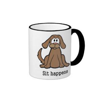 Sit Happens Ringer Coffee Mug