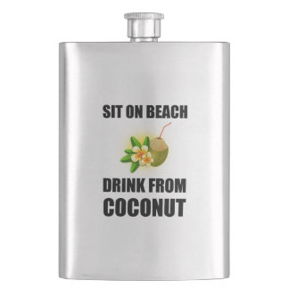 Sit On Beach Drink From Coconut Flask