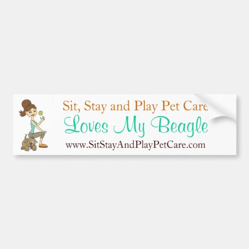 Sit, Stay and Play Pet Care Love My Beagle Car Bumper Sticker