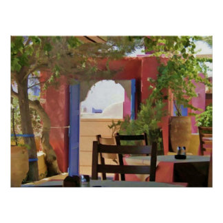 Sit & Stay Awhile Greek Taverna Poster