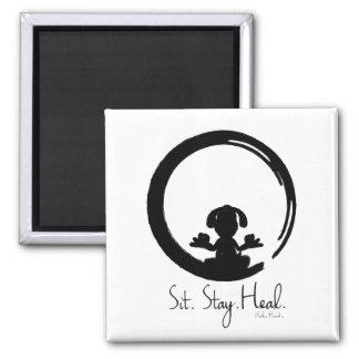 Sit. Stay. Heal. Dog Meditating Magnet Pose