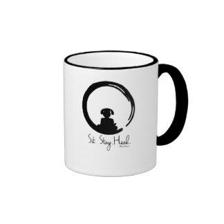 Sit. Stay. Heal. Dog Meditation Coffee Mug. Ringer Mug