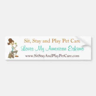 Sit, Stay & Play Pet Care Love My American Eskimo Car Bumper Sticker
