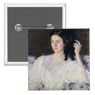 Sita and Sarita, or Young Girl with a Cat 2 Inch Square Button