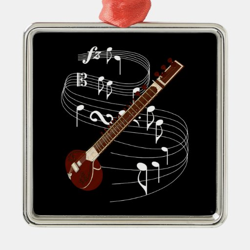 Sitar String Instrument with Music Notes Metal Ornament