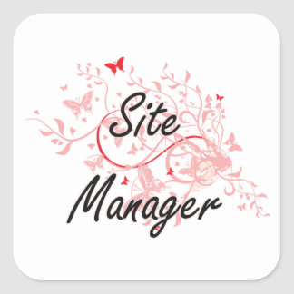 Site Manager Artistic Job Design with Butterflies Square Sticker