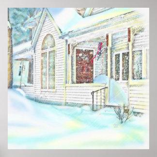 Sitiado por la nieve en lona de la extra grande de póster