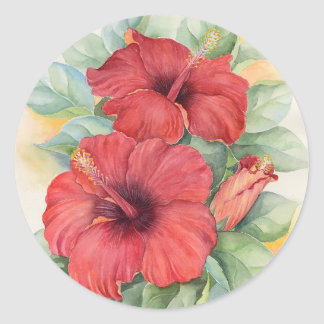 Siticker of Red Hibiscus Tropical Flower Painting Classic Round Sticker