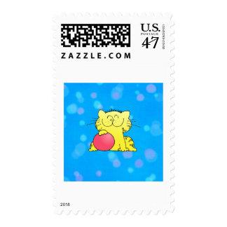 Sitio amarillo del azul del gatito sello postal