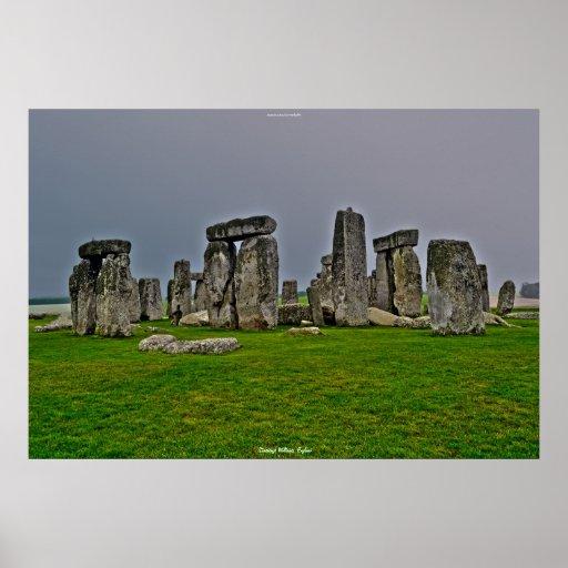Sitio antiguo de las piedras derechas Inglaterra d Impresiones