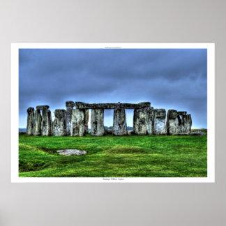 Sitio antiguo de las piedras derechas Inglaterra Póster