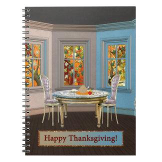 Sitio de Dinning de la acción de gracias con la Notebook