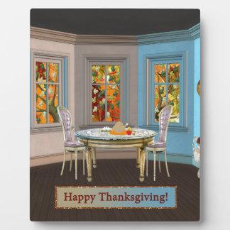 Sitio de Dinning de la acción de gracias con la Placas