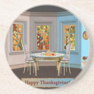 Sitio de Dinning de la acción de gracias con la Posavasos Personalizados