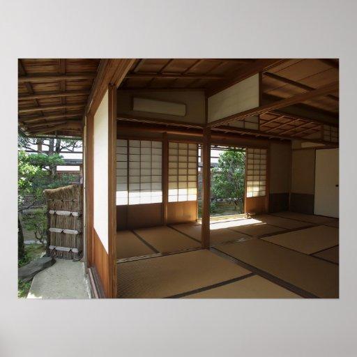 Sitio de la meditación del zen abierto al jardín - posters